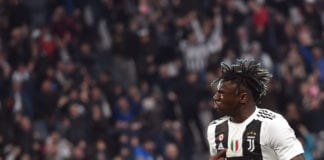TURIN, ITALY - APRIL 06: Moise Kean of Juventus celebrates after scoring his team's second goal during the Serie A match between Juventus and AC Milan on April 06, 2019 in Turin, Italy. (Photo by Tullio M. Puglia/Getty Images)