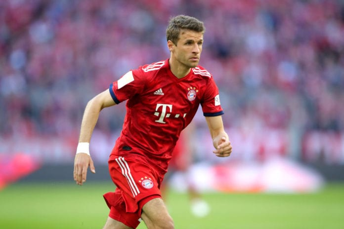 MUNICH, GERMANY - APRIL 06: Thomas Mueller of FC Bayern Muenchen looks on during the Bundesliga match between FC Bayern Muenchen and Borussia Dortmund at Allianz Arena on April 06, 2019 in Munich, Germany. (Photo by Alexander Hassenstein/Bongarts/Getty Images)