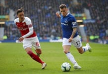 LIVERPOOL, ENGLAND - APRIL 07: Lucas Digne of Everton (R) in action during the Premier League match between Everton FC and Arsenal FC at Goodison Park on April 07, 2019 in Liverpool, United Kingdom. (Photo by Clive Brunskill/Getty Images)