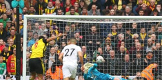 LONDON, ENGLAND - APRIL 07: Troy Deeney of Watford (9) scores his team's second goal from a penalty past John Ruddy of Wolverhampton Wanderers during the FA Cup Semi Final match between Watford and Wolverhampton Wanderers at Wembley Stadium on April 07, 2019 in London, England. (Photo by Catherine Ivill/Getty Images)