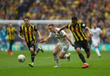 LONDON, ENGLAND - APRIL 07: Diogo Jota of Wolverhampton Wanderers battles with Adrian Mariappa of Watford during the FA Cup Semi Final match between Watford and Wolverhampton Wanderers at Wembley Stadium on April 07, 2019 in London, England. (Photo by Catherine Ivill/Getty Images)