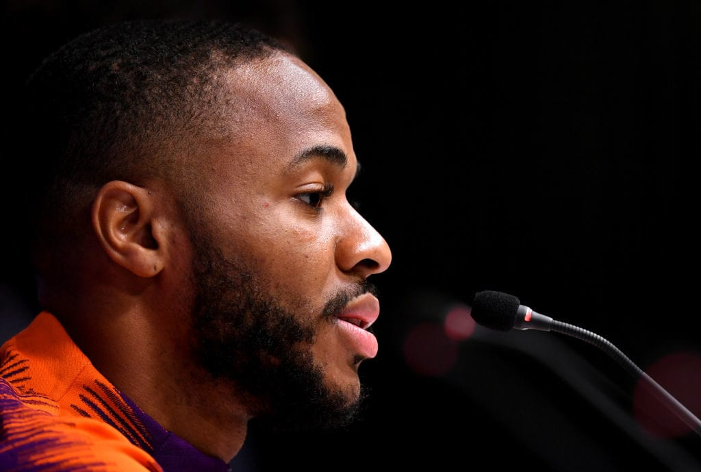 LONDON, ENGLAND - APRIL 08: Raheem Sterling of Manchester City attends a Manchester City press conference ahead of their UEFA Champions League quarter-final match against Tottenham Hotspur. At Tottenham Hotspur Stadium on April 08, 2019 in London, England. (Photo by Dan Mullan/Getty Images)