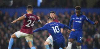 LONDON, ENGLAND - APRIL 08: Eden Hazard of Chelsea (10) is accidentally blocked by team mate Callum Hudson-Odoi (20) as he shoots during the Premier League match between Chelsea FC and West Ham United at Stamford Bridge on April 08, 2019 in London, United Kingdom. (Photo by Mike Hewitt/Getty Images)