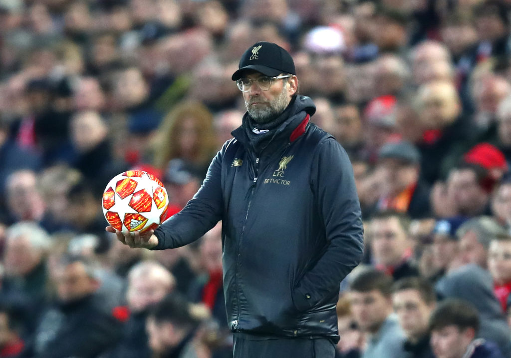 LIVERPOOL, ENGLAND - APRIL 09: Jurgen Klopp, Manager of Liverpool looks on during the UEFA Champions League Quarter Final first leg match between Liverpool and Porto at Anfield on April 09, 2019 in Liverpool, England. (Photo by Julian Finney/Getty Images)