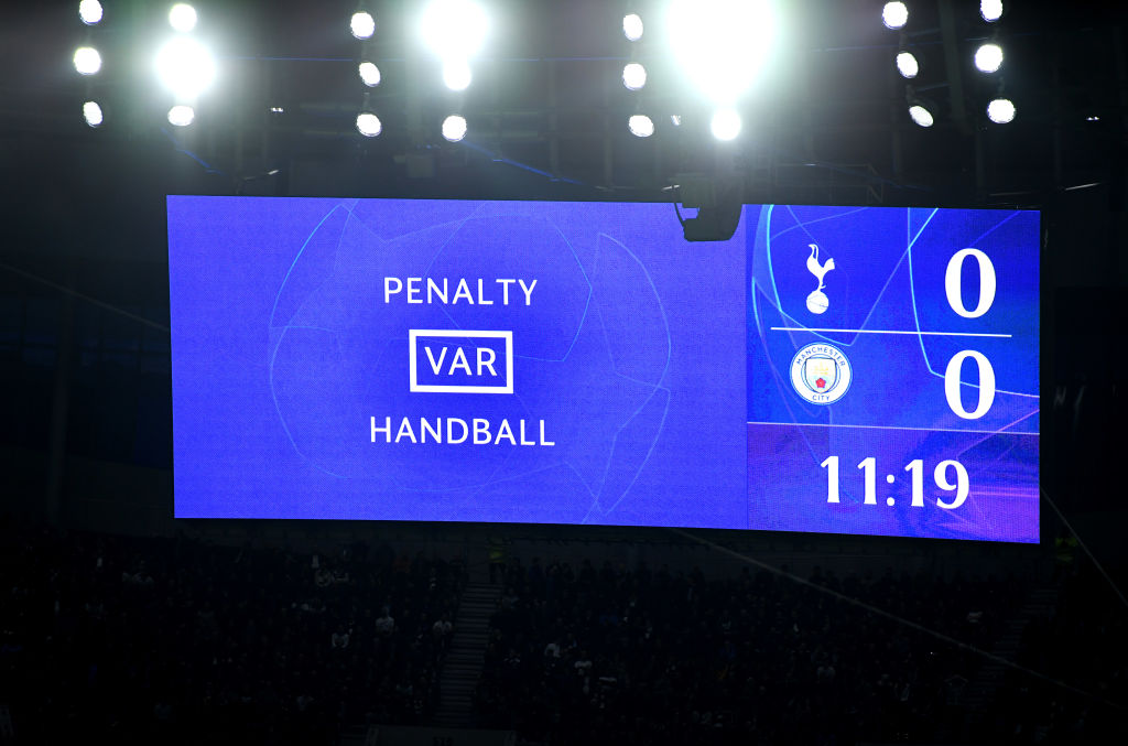 LONDON, ENGLAND - APRIL 09: A detailed view as the LED screen shows the message of VAR Potential penalty in review during the UEFA Champions League Quarter Final first leg match between Tottenham Hotspur and Manchester City at Tottenham Hotspur Stadium on April 09, 2019 in London, England. (Photo by Mike Hewitt/Getty Images)