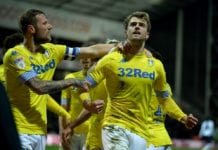 PRESTON, ENGLAND - APRIL 09: Patrick Bamford of Leeds United celebrates after he scores the opening goal during the Sky Bet Championship match between Preston North End and Leeds United at Deepdale on April 09, 2019 in Preston, England. (Photo by Gareth Copley/Getty Images)