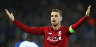 LIVERPOOL, ENGLAND - APRIL 09: Jordan Henderson of Liverpool reacts during the UEFA Champions League Quarter Final first leg match between Liverpool and Porto at Anfield on April 09, 2019 in Liverpool, England. (Photo by Julian Finney/Getty Images)