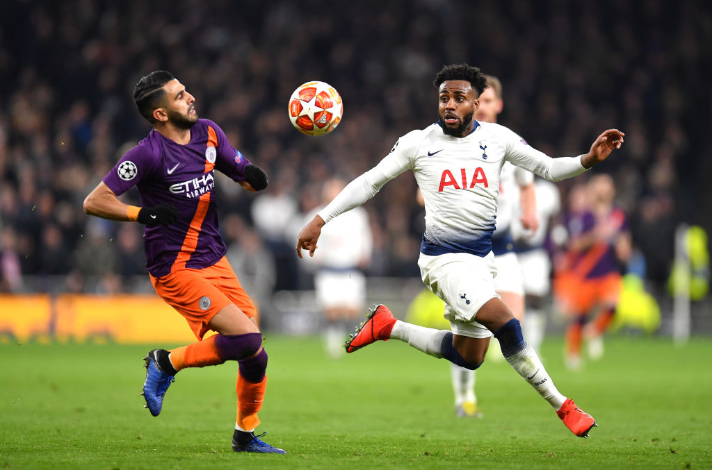 LONDON, ENGLAND - APRIL 09: Riyad Mahrez of Manchester City battles for possession with Danny Rose of Tottenham Hotspur during the UEFA Champions League Quarter Final first leg match between Tottenham Hotspur and Manchester City at Tottenham Hotspur Stadium on April 09, 2019 in London, England. (Photo by Justin Setterfield/Getty Images)