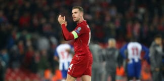 LIVERPOOL, ENGLAND - APRIL 09: Jordan Henderson of Liverpool acknowledges the fans after the UEFA Champions League Quarter Final first leg match between Liverpool and Porto at Anfield on April 09, 2019 in Liverpool, England. (Photo by Julian Finney/Getty Images)