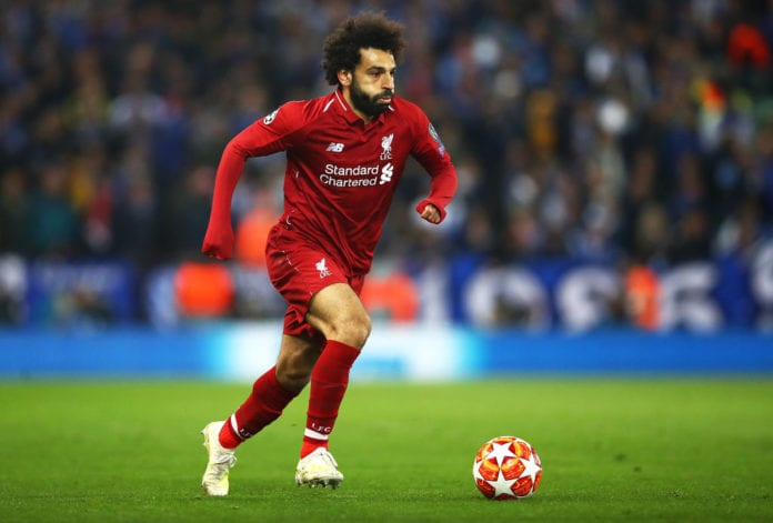 LIVERPOOL, ENGLAND - APRIL 09: Mohamed Salah of Liverpool in action during the UEFA Champions League Quarter Final first leg match between Liverpool and Porto at Anfield on April 09, 2019 in Liverpool, England. (Photo by Julian Finney/Getty Images)