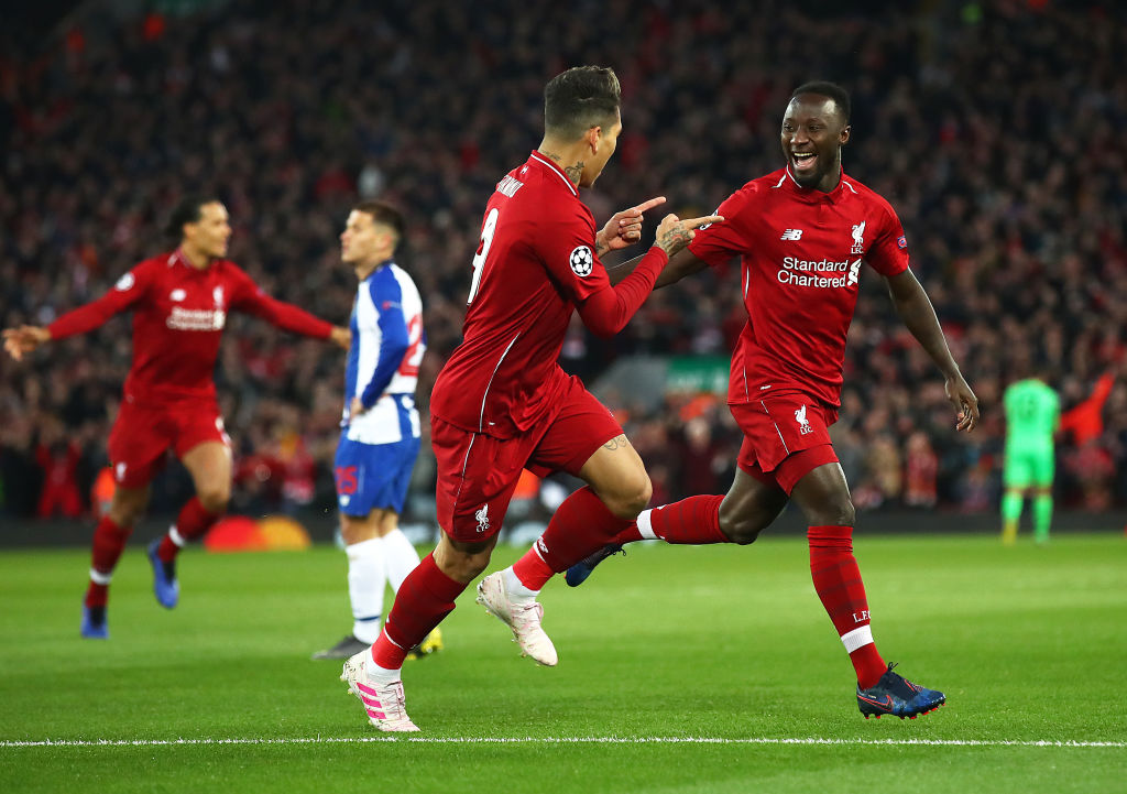 LIVERPOOL, ENGLAND - APRIL 09: Naby Keita of Liverpool celebrates scoring his team's first goal past Iker Casillas of FC Porto during the UEFA Champions League Quarter Final first leg match between Liverpool and Porto at Anfield on April 09, 2019 in Liverpool, England. (Photo by Julian Finney/Getty Images)