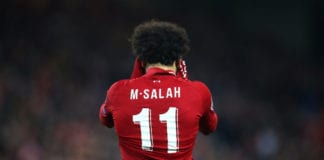 LIVERPOOL, ENGLAND - APRIL 09: Mohamed Salah of Liverpool after a missed chance during the UEFA Champions League Quarter Final first leg match between Liverpool and Porto at Anfield on April 09, 2019 in Liverpool, England. (Photo by Julian Finney/Getty Images)