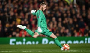 MANCHESTER, ENGLAND - APRIL 10: United goalkeeper David de Gea in action during the UEFA Champions League Quarter Final first leg match between Manchester United and FC Barcelona at Old Trafford on April 10, 2019 in Manchester, England. (Photo by Stu Forster/Getty Images)
