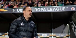 PRAGUE, CZECH REPUBLIC - APRIL 11: Headcoach Jindrich Trpisovsky of Prague reacts prior the UEFA Europa League Quarter Final First Leg match between Slavia Prague and Chelsea at Eden Stadium on April 11, 2019 in Prague, Czech Republic. (Photo by Thomas Eisenhuth/Bongarts/Getty Images)