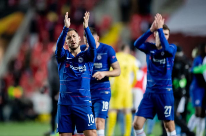 PRAGUE, CZECH REPUBLIC - APRIL 11: Eden Hazard of Chelsea celebrates after the UEFA Europa League Quarter Final First Leg match between Slavia Prague and Chelsea at Eden Stadium on April 11, 2019 in Prague, Czech Republic. (Photo by Thomas Eisenhuth/Bongarts/Getty Images)