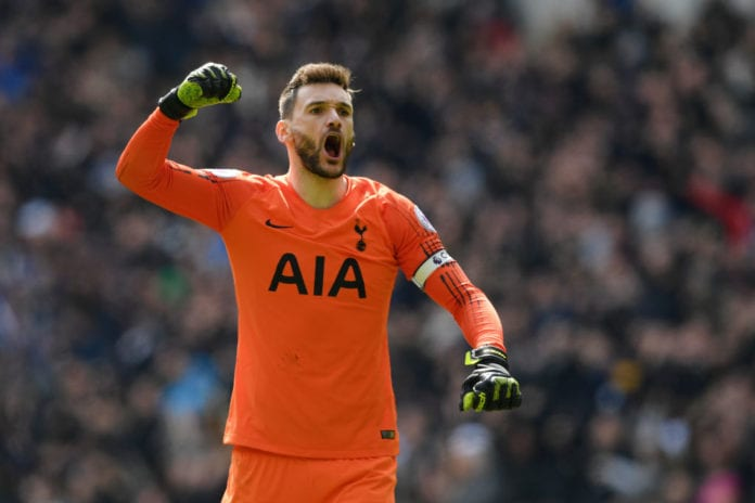 LONDON, ENGLAND - APRIL 13: Hugo Lloris of Tottenham Hotspur celebrates his sides third goal during the Premier League match between Tottenham Hotspur and Huddersfield Town at the Tottenham Hotspur Stadium on April 13, 2019 in London, United Kingdom. (Photo by Shaun Botterill/Getty Images)