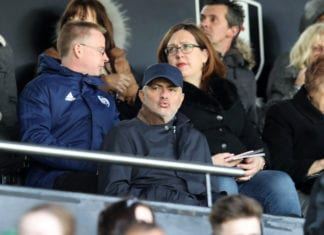 LONDON, ENGLAND - APRIL 13: Jose Mourinho is seen in the stands prior to the Premier League match between Fulham FC and Everton FC at Craven Cottage on April 13, 2019 in London, United Kingdom. (Photo by Christopher Lee/Getty Images)