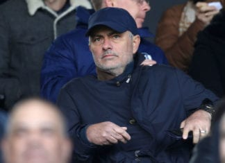 LONDON, ENGLAND - APRIL 13: Jose Mourinho is seen in the stands prior to the Premier League match between Fulham FC and Everton FC at Craven Cottage on April 13, 2019 in London, United Kingdom. (Photo by Clive Rose/Getty Images)