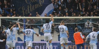 FERRARA, ITALY - APRIL 13: players of SPAL celebrate at the end of the Serie A match between SPAL and Juventus at Stadio Paolo Mazza on April 13, 2019 in Ferrara, Italy. (Photo by Mario Carlini / Iguana Press/Getty Images)