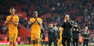 SOUTHAMPTON, ENGLAND - APRIL 13: Nuno Espirito Santo, Manager of Wolverhampton Wanderers acknowledges the fans after the Premier League match between Southampton FC and Wolverhampton Wanderers at St Mary's Stadium on April 13, 2019 in Southampton, United Kingdom. (Photo by Marc Atkins/Getty Images)