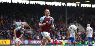 BURNLEY, ENGLAND - APRIL 13: Chris Wood of Burnley celebrates after scoring his team's second goal during the Premier League match between Burnley FC and Cardiff City at Turf Moor on April 13, 2019 in Burnley, United Kingdom. (Photo by Alex Livesey/Getty Images)