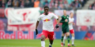LEIPZIG, GERMANY - APRIL 13: Amadou Haidara of Leipzig runs with the ball during the Bundesliga match between RB Leipzig and VfL Wolfsburg at Red Bull Arena on April 13, 2019 in Leipzig, Germany. (Photo by Alexander Hassenstein/Bongarts/Getty Images)
