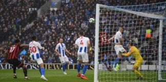 BRIGHTON, ENGLAND - APRIL 13: Joshua King of Bournemouth (L) heads wide during the Premier League match between Brighton & Hove Albion and AFC Bournemouth at American Express Community Stadium on April 13, 2019 in Brighton, United Kingdom. (Photo by Mike Hewitt/Getty Images)