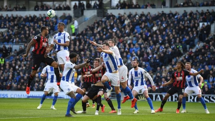 BRIGHTON, ENGLAND - APRIL 13: Bernardo of Brighton & Hove Albion heads clear during the Premier League match between Brighton & Hove Albion and AFC Bournemouth at American Express Community Stadium on April 13, 2019 in Brighton, United Kingdom. (Photo by Mike Hewitt/Getty Images)