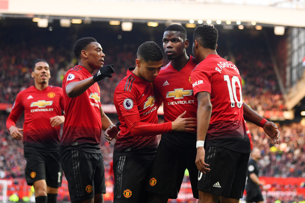 MANCHESTER, ENGLAND - APRIL 13: Paul Pogba of Manchester United celebrates after scoring his team's second goal from a penalty with team mates during the Premier League match between Manchester United and West Ham United at Old Trafford on April 13, 2019 in Manchester, United Kingdom. (Photo by Michael Regan/Getty Images)