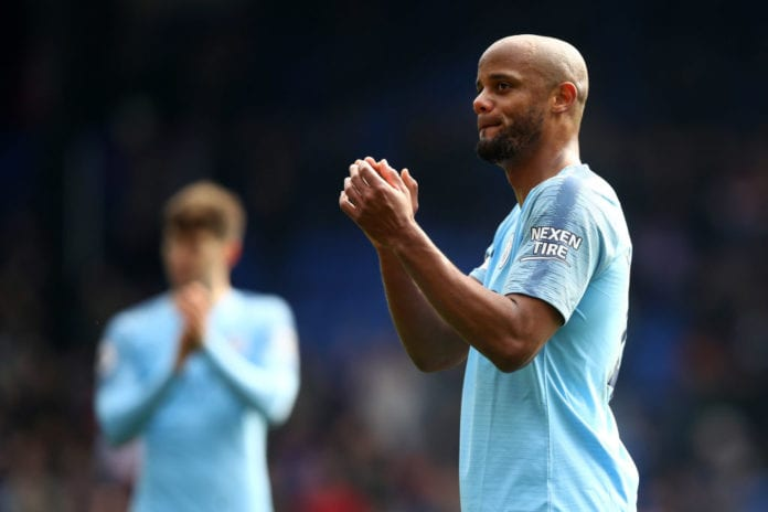 LONDON, ENGLAND - APRIL 14: Vincent Kompany of Manchester City celebrates victory after the Premier League match between Crystal Palace and Manchester City at Selhurst Park on April 14, 2019 in London, United Kingdom. (Photo by Julian Finney/Getty Images)