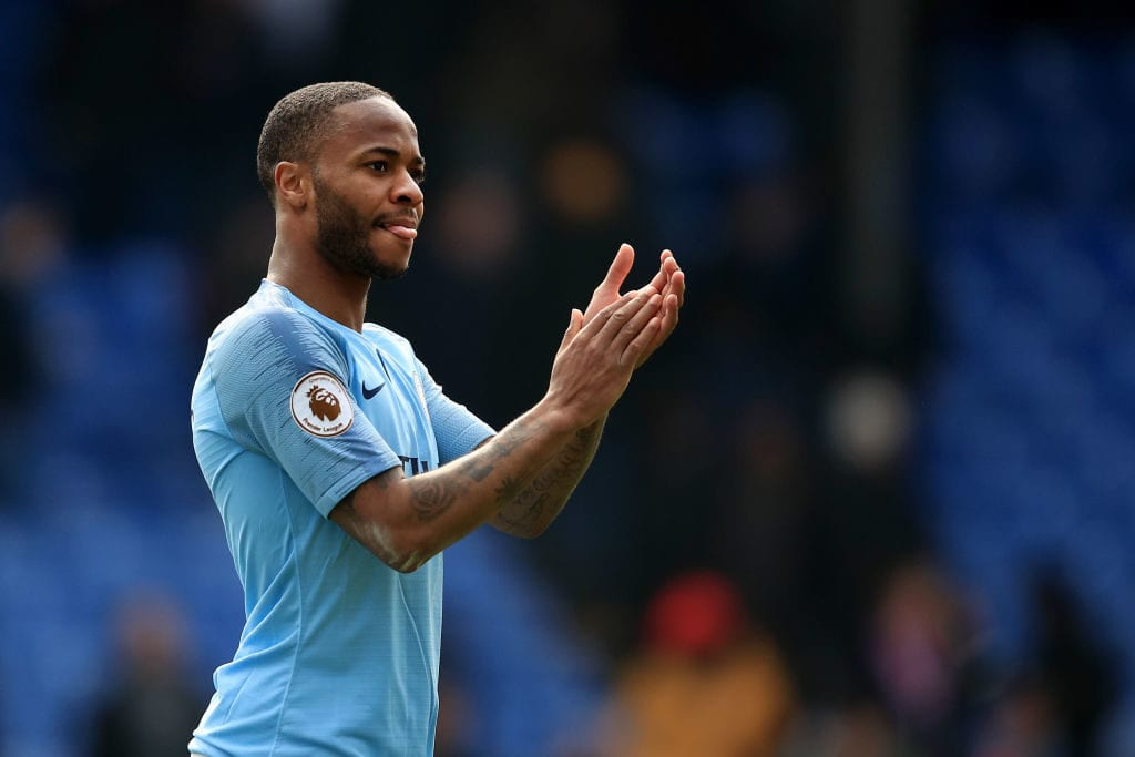 LONDON, ENGLAND - APRIL 14: Raheem Sterling of Manchester City celebrates victory after the Premier League match between Crystal Palace and Manchester City at Selhurst Park on April 14, 2019 in London, United Kingdom. (Photo by Marc Atkins/Getty Images)
