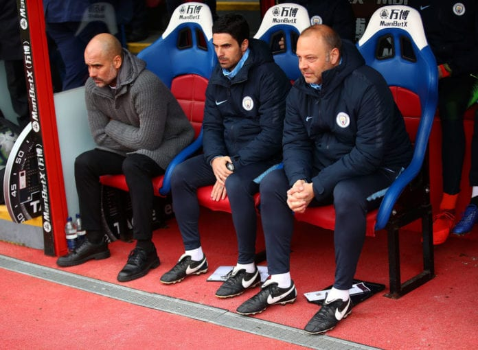 LONDON, ENGLAND - APRIL 14: Josep Guardiola, Manager of Manchester City looks on before the Premier League match between Crystal Palace and Manchester City at Selhurst Park on April 14, 2019 in London, United Kingdom. (Photo by Julian Finney/Getty Images)