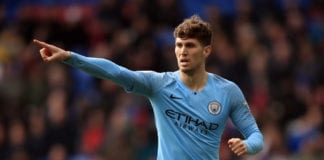 LONDON, ENGLAND - APRIL 14: John Stones of Manchester City during the Premier League match between Crystal Palace and Manchester City at Selhurst Park on April 14, 2019 in London, United Kingdom. (Photo by Marc Atkins/Getty Images)