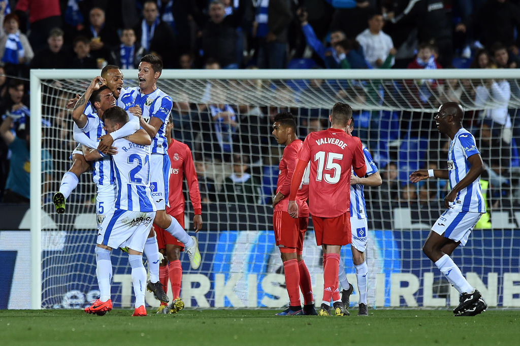 LEGANES, SPAIN - APRIL 15: Jonathan Silva of Leganes celebrates with his team after scoring the opening goal during the La Liga match between CD Leganes and Real Madrid CF at Estadio Municipal de Butarque on April 15, 2019 in Leganes, Spain. (Photo by Denis Doyle/Getty Images)