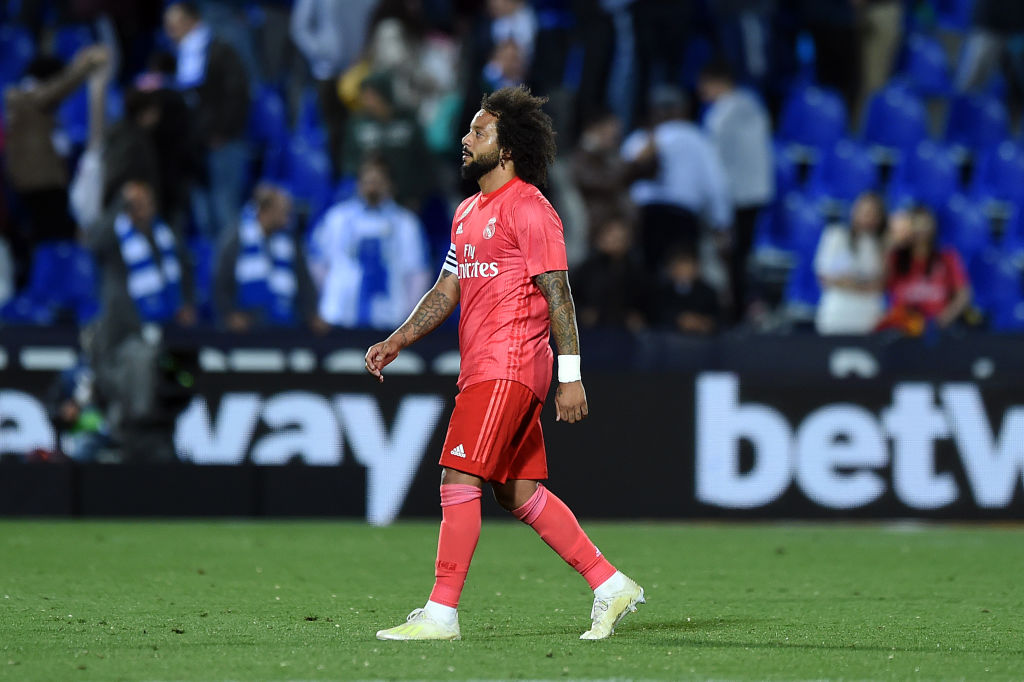 LEGANES, SPAIN - APRIL 15: Marcelo Vieira of Real Madrid reacts after the 1-1 draw in the La Liga match between CD Leganes and Real Madrid CF at Estadio Municipal de Butarque on April 15, 2019 in Leganes, Spain. (Photo by Denis Doyle/Getty Images)