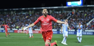 LEGANES, SPAIN - APRIL 15: Karim Benzema of Real Madrid celebrates scoring their first goal during the La Liga match between CD Leganes and Real Madrid CF at Estadio Municipal de Butarque on April 15, 2019 in Leganes, Spain. (Photo by Denis Doyle/Getty Images)