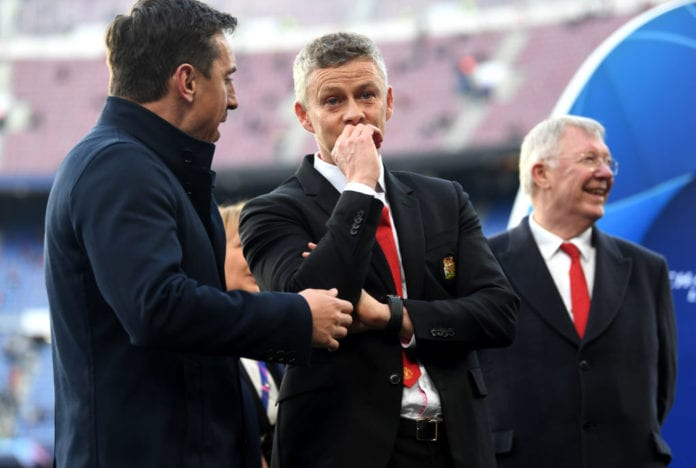 BARCELONA, SPAIN - APRIL 16: Ole Gunnar Solskjaer, Interim Manager of Manchester United and Gary Neville ahead of the UEFA Champions League Quarter Final second leg match between FC Barcelona and Manchester United at Camp Nou on April 16, 2019 in Barcelona, Spain. (Photo by Michael Regan/Getty Images)