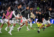 TURIN, ITALY - APRIL 16: Cristiano Ronaldo of Juventus warms up with team mates ahead of the UEFA Champions League Quarter Final second leg match between Juventus and Ajax at Allianz Stadium on April 16, 2019 in Turin, Italy. (Photo by Stuart Franklin/Getty Images)