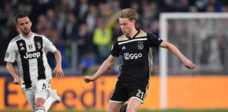 TURIN, ITALY - APRIL 16: Frenkie de Jong of Ajax in action during the UEFA Champions League Quarter Final second leg match between Juventus and Ajax at Allianz Stadium on April 16, 2019 in Turin, Italy. (Photo by Stuart Franklin/Getty Images)