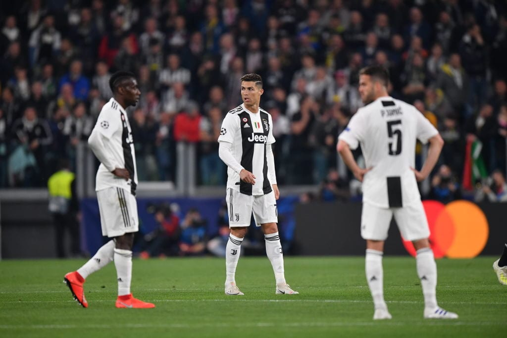 TURIN, ITALY - APRIL 16: Christiano Ronaldo of Juventus looks on during the UEFA Champions League Quarter Final second leg match between Juventus and Ajax at Allianz Stadium on April 16, 2019 in Turin, Italy. (Photo by Stuart Franklin/Getty Images)