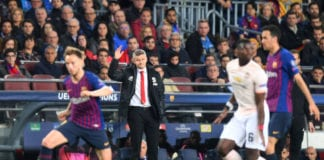 BARCELONA, SPAIN - APRIL 16: Ole Gunnar Solskjaer, Manager of Manchester United reacts during the UEFA Champions League Quarter Final second leg match between FC Barcelona and Manchester United at Camp Nou on April 16, 2019 in Barcelona, Spain. (Photo by Michael Regan/Getty Images)