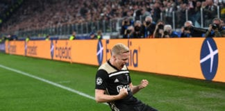 TURIN, ITALY - APRIL 16: Donny van de Beek of Ajax celebrates after scoring a goal during the UEFA Champions League Quarter Final second leg match between Juventus and Ajax at Allianz Stadium on April 16, 2019 in Turin, Italy. (Photo by Stuart Franklin/Getty Images)