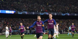 BARCELONA, SPAIN - APRIL 16: Lionel Messi of Barcelona celebrates after scoring his team's first goal with Philippe Coutinho of Barcelona during the UEFA Champions League Quarter Final second leg match between FC Barcelona and Manchester United at Camp Nou on April 16, 2019 in Barcelona, Spain. (Photo by Michael Regan/Getty Images)