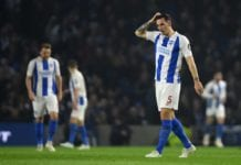 BRIGHTON, ENGLAND - APRIL 16: Lewis Dunk of Brighton & Hove Albion cuts a dejected figure during the Premier League match between Brighton & Hove Albion and Cardiff City at American Express Community Stadium on April 16, 2019 in Brighton, United Kingdom. (Photo by Mike Hewitt/Getty Images)