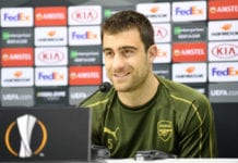 NAPLES, ITALY - APRIL 17: Sokratis Papastathopoulos of Arsenal speaks to the media during an Arsenal Press Conference ahead of their UEFA Europa League quarter-final second leg match against SSC Napoli. At Stadio San Paolo on April 17, 2019 in Naples, Italy. (Photo by Stuart Franklin/Getty Images)
