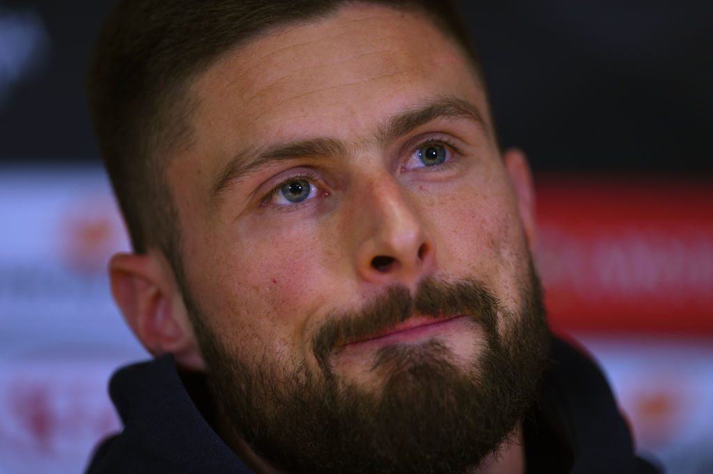 COBHAM, ENGLAND - APRIL 17: Olivier Giroud of Chelsea looks on during a Chelsea Press Conference at Stamford Bridge on April 17, 2019 in Cobham, England. (Photo by Harriet Lander/Getty Images)