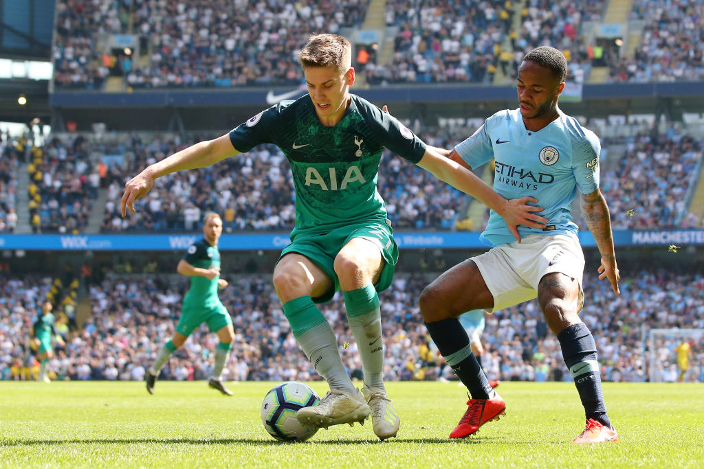 MANCHESTER, ENGLAND - APRIL 20: Juan Foyth of Tottenham Hotspur battles for possession with Raheem Sterling of Manchester City during the Premier League match between Manchester City and Tottenham Hotspur at Etihad Stadium on April 20, 2019 in Manchester, United Kingdom. (Photo by Alex Livesey/Getty Images)