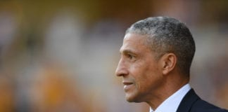 WOLVERHAMPTON, ENGLAND - APRIL 20: Brighton manager Chris Hughton looks on during the Premier League match between Wolverhampton Wanderers and Brighton & Hove Albion at Molineux on April 20, 2019 in Wolverhampton, United Kingdom. (Photo by Mike Hewitt/Getty Images)