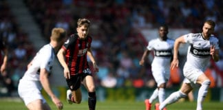 BOURNEMOUTH, ENGLAND - APRIL 20: David Brooks of AFC Bournemouth makes a break during the Premier League match between AFC Bournemouth and Fulham FC at Vitality Stadium on April 20, 2019 in Bournemouth, United Kingdom. (Photo by Alex Davidson/Getty Images)