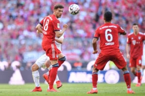MUNICH, GERMANY - APRIL 20: Leon Goretzka of Bayern Munich plays the ball during the Bundesliga match between FC Bayern Muenchen and SV Werder Bremen at Allianz Arena on April 20, 2019 in Munich, Germany. (Photo by Sebastian Widmann/Bongarts/Getty Images)